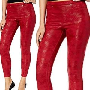 HUE distressed Metallic faux leather leggings RED